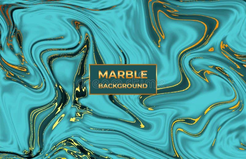Textura de mármol esmeralda líquida La tinta ondula diseño de la acuarela Fondo flúido para la celebración, aviador, cartel, part stock de ilustración