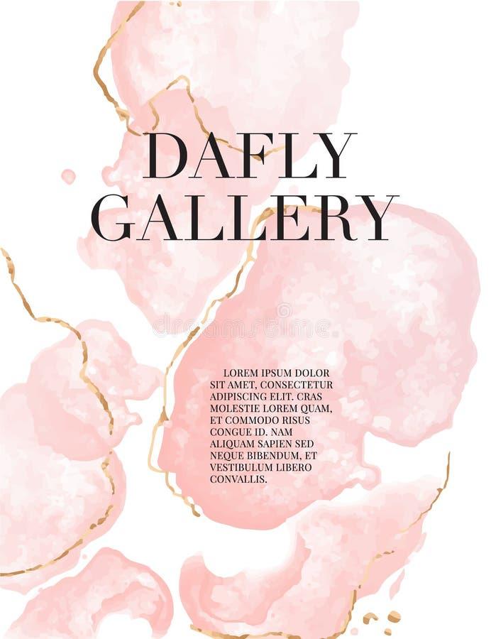 Textura de mármol líquida de las ilustraciones de la acuarela moderna Arte rosado flúido con las chispas de oro Aplicable para la stock de ilustración