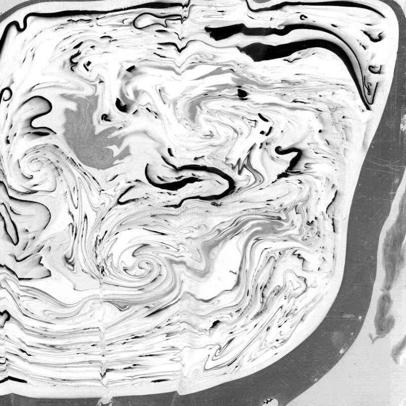 Textura de mármol monocromática del extracto Papel y mezcla de tinta que fluye imágenes de archivo libres de regalías