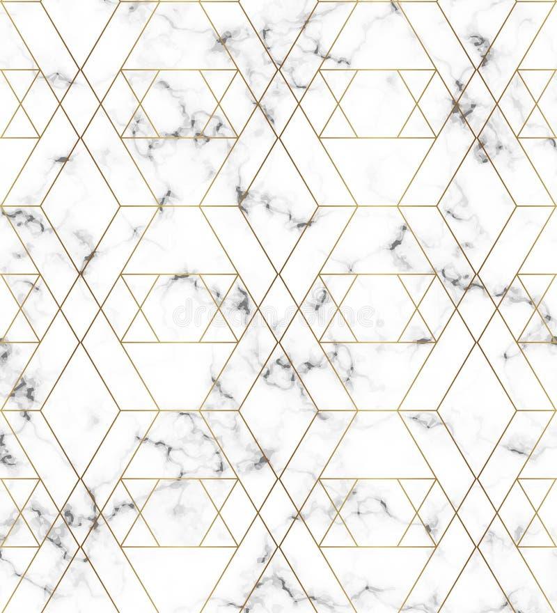 Textura de mármore branca com linha teste padrão do ouro Fundo para projetos, bandeira, cartão, inseto, convite, partido, anivers ilustração stock