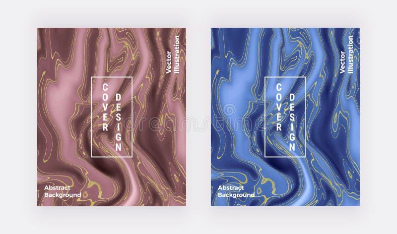 Textura de mármore líquida Vermelho e azul com teste padrão dourado do sumário da pintura da tinta do brilho Fundo na moda para o imagem de stock royalty free