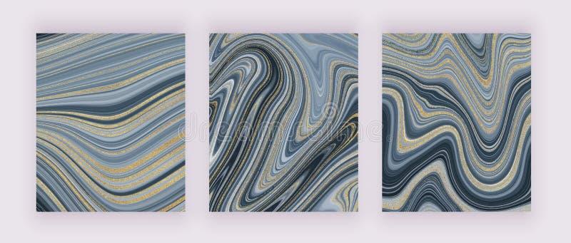 Textura de m?rmol l?quida determinada Modelo gris y de oro del extracto de la pintura de la tinta del brillo Fondos de moda para  stock de ilustración