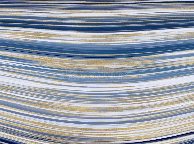 Textura de m?rmol l?quida Modelo azul y de oro del extracto de la pintura de la tinta del brillo Fondos de moda para el papel pin imagenes de archivo