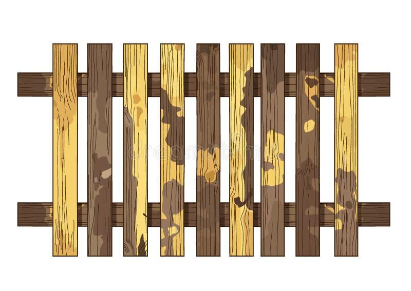 Textura de madeira amarela da cerca de Brown e placa vertical brilhante das pranchas da parede amarela de madeira do fundo do spl ilustração do vetor