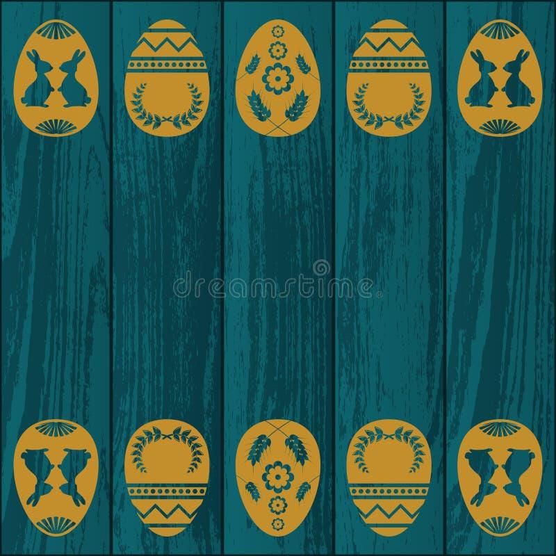 Textura de madeira azul com ovos ilustração stock