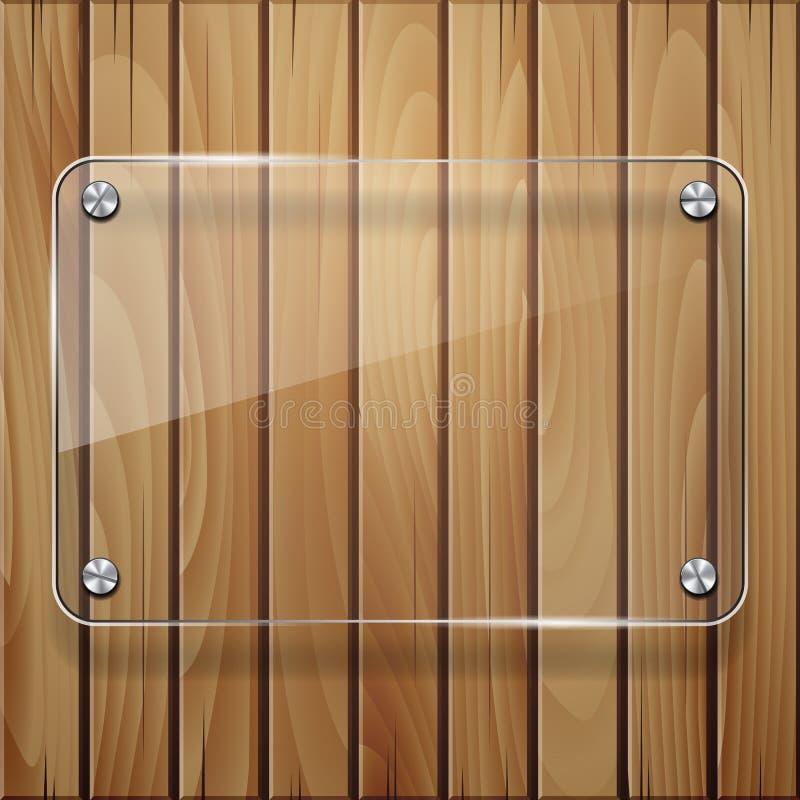 Textura de madeira com estrutura de vidro. ilustração stock