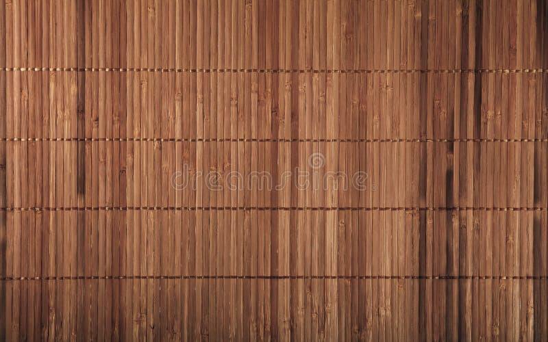 Textura de madeira de bambu marrom do fundo da esteira do vintage imagem de stock