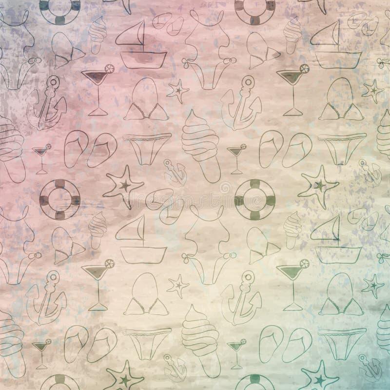 Textura de madeira do vintage retro do Grunge, fundo do vetor com funn ilustração do vetor