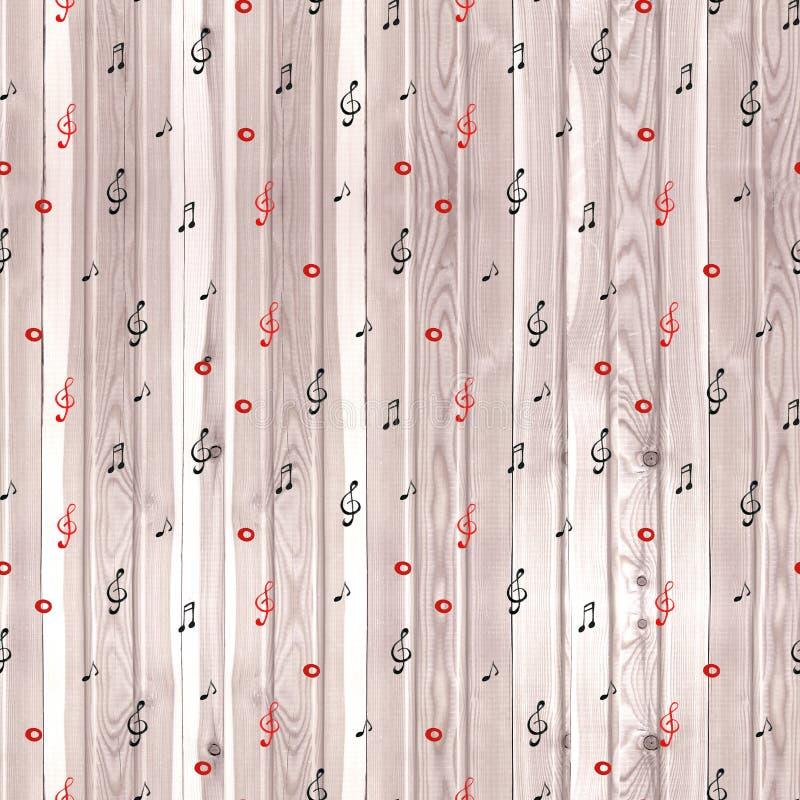 Textura de madeira - fundo musical A aquarela nota o teste padrão sem emenda ilustração royalty free