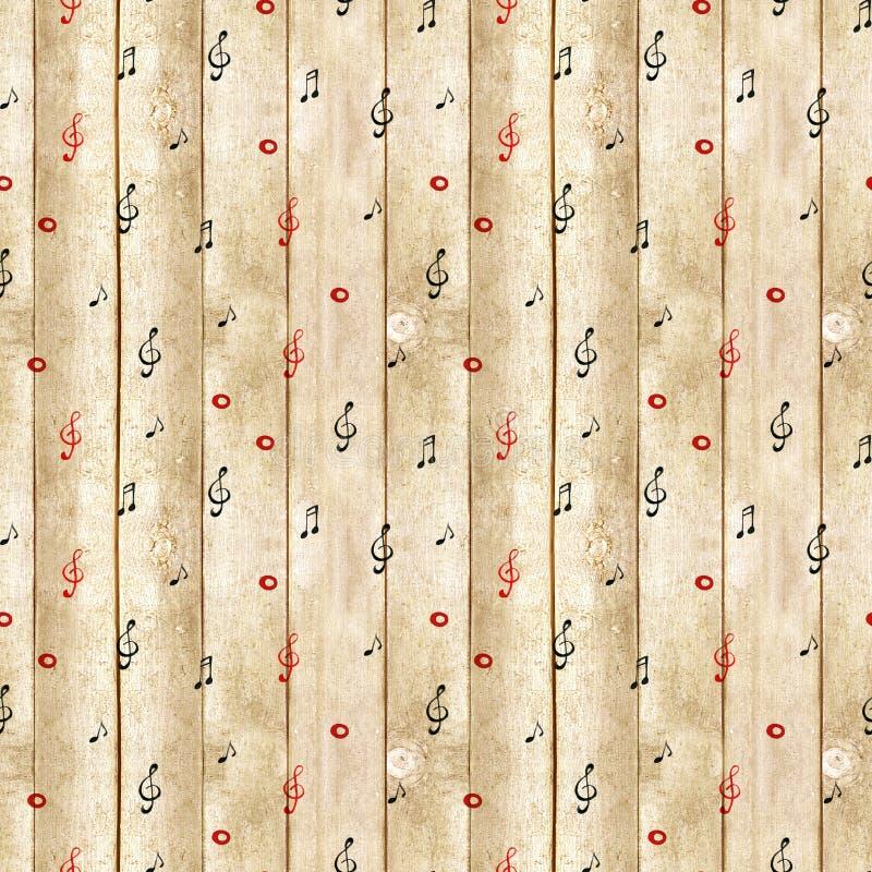 Textura de madeira - fundo musical A aquarela nota o teste padrão sem emenda ilustração stock