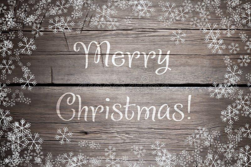 A textura de madeira marrom com neve e as estrelas brancas Fundo do Natal imagens de stock