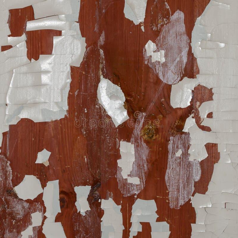 Textura de madeira resistida velha com descascamento da pintura branca Fundo do Grunge imagens de stock