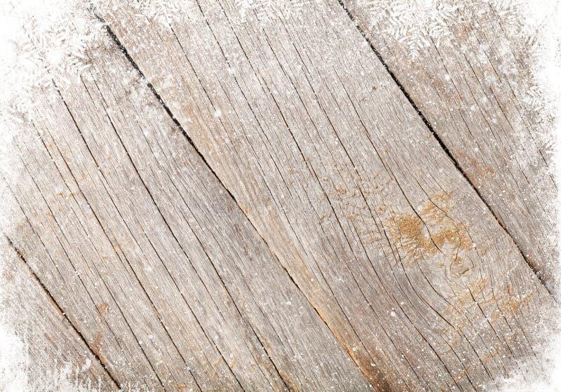 Textura de madeira velha com neve fotos de stock royalty free