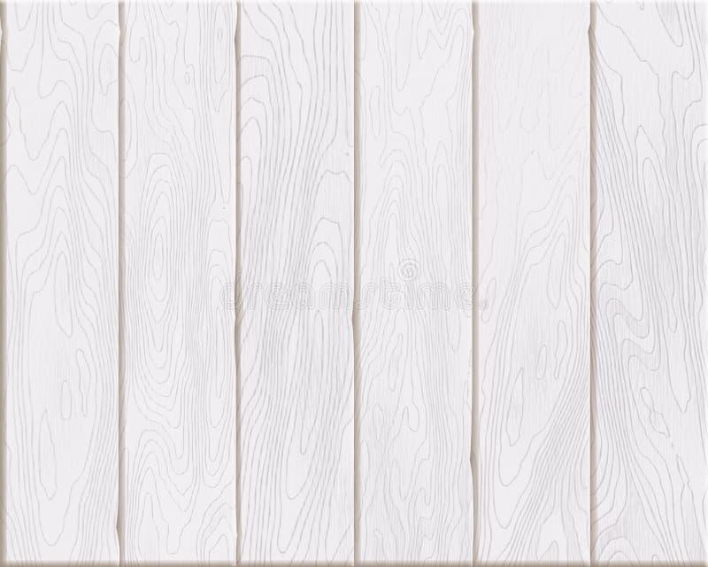Textura de madera blanca natural, tableros pintados, fondo de madera realista stock de ilustración
