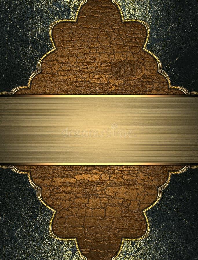 Textura de madera con el marco del grunge y la placa de oro Plantilla para el diseño copie el espacio para el folleto del anuncio libre illustration