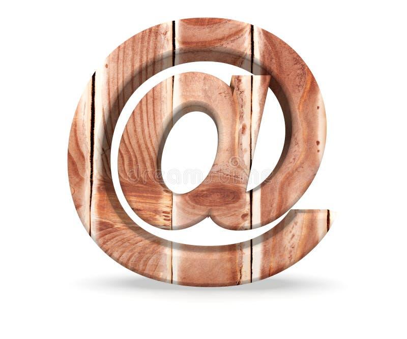 Textura de madera del alfabeto en la letra de la muestra de la marca del correo electrónico de los tablones de madera ilustración stock de ilustración