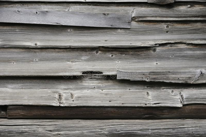 Textura de madera lamentable de los registros Cerca de madera vieja, superficie del granero Pared resistida madera dura del roble imagen de archivo