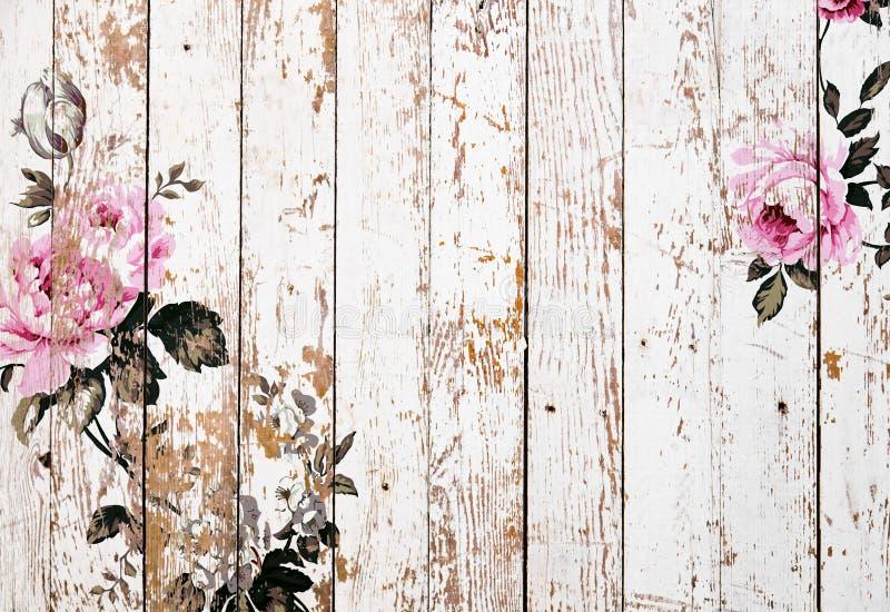 Textura de madera pelada con las rosas elegantes lamentables del vintage imagen de archivo libre de regalías
