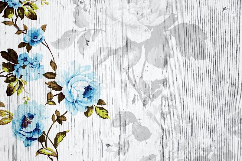 Textura de madera pelada con las rosas elegantes lamentables del vintage ilustración del vector