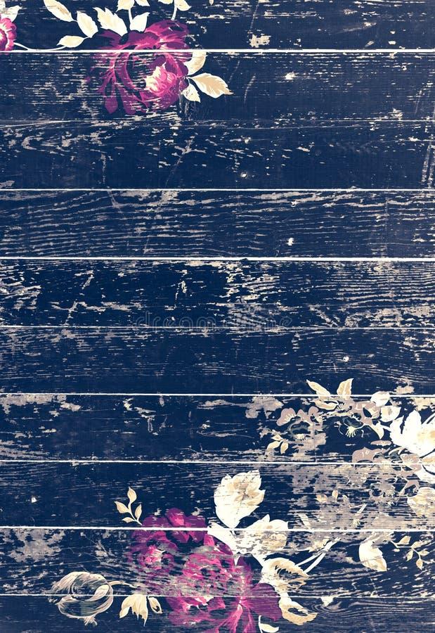 Textura de madera pelada con las rosas elegantes lamentables del vintage libre illustration