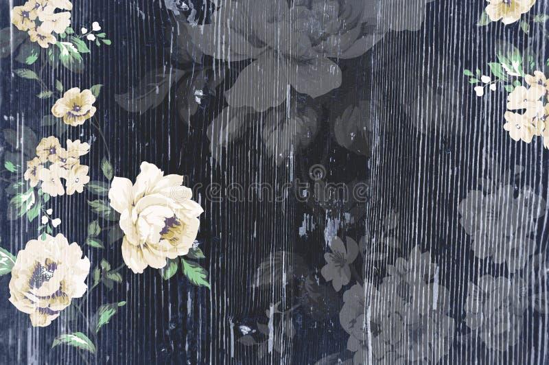 Textura de madera pelada con las rosas elegantes lamentables del vintage stock de ilustración