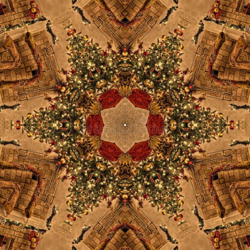 Textura de Mandala Kaleidoscope del extracto de la Navidad de Brown fotografía de archivo