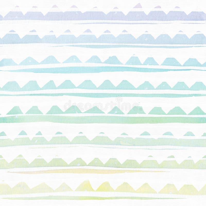 Textura de marcado en caliente de la acuarela inconsútil, sobre la base de rayas a mano del arco iris dentado Simple, áspero El e libre illustration