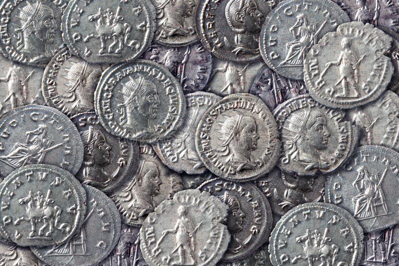 Textura de moedas antigas fotos de stock