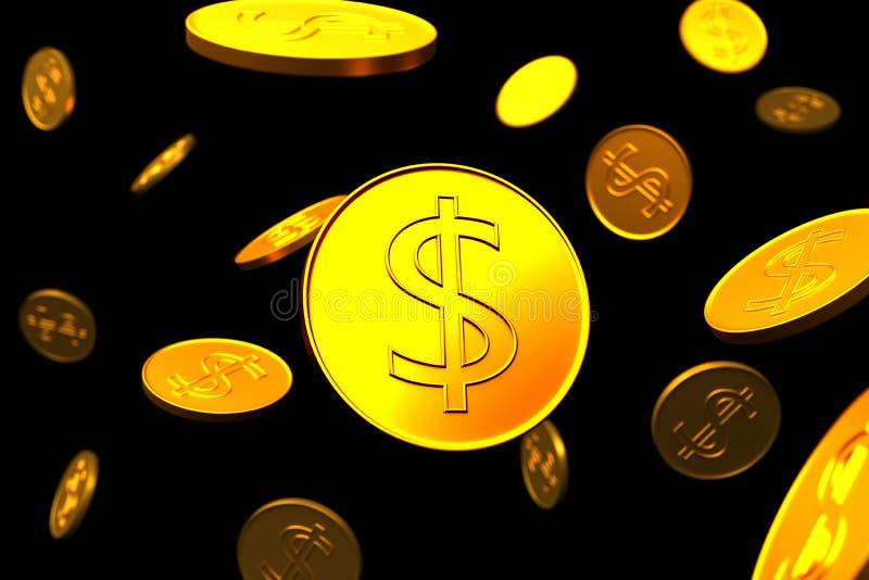 A textura de moedas do d?lar do ouro ilustração stock