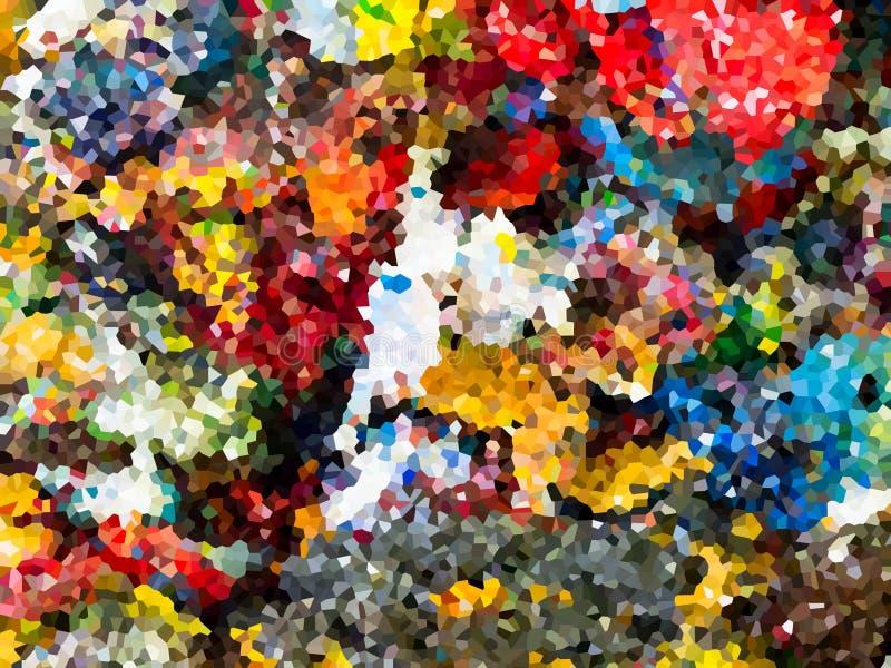 Textura de mosaico colorida abstracta con color amarillo verde rojo de la naranja del gris azul ilustración del vector