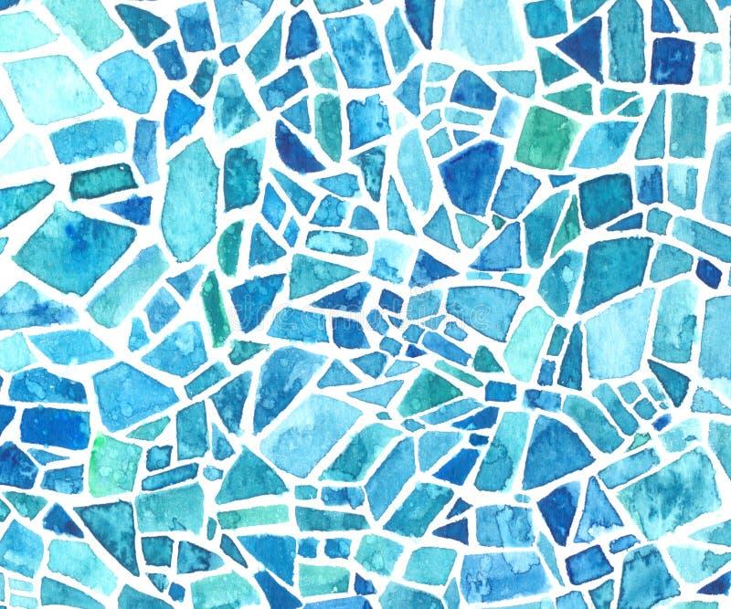 Textura de mosaico da aquarela Fundo azul do caleidoscópio Teste padrão geométrico pintado imagem de stock
