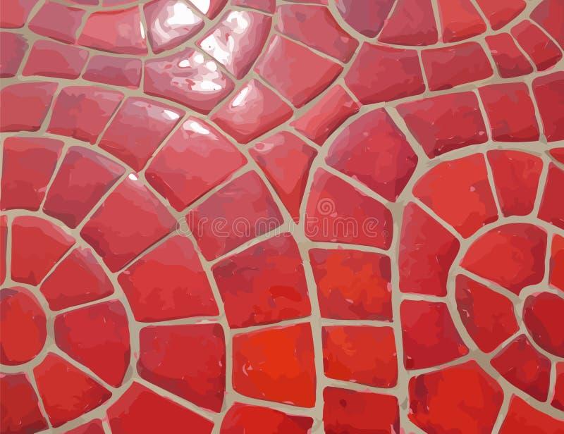 Textura de mosaico de piedra roja esmaltada del vector libre illustration