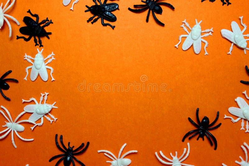 Textura de moscas y arañas de plástico para Halloween foto de archivo