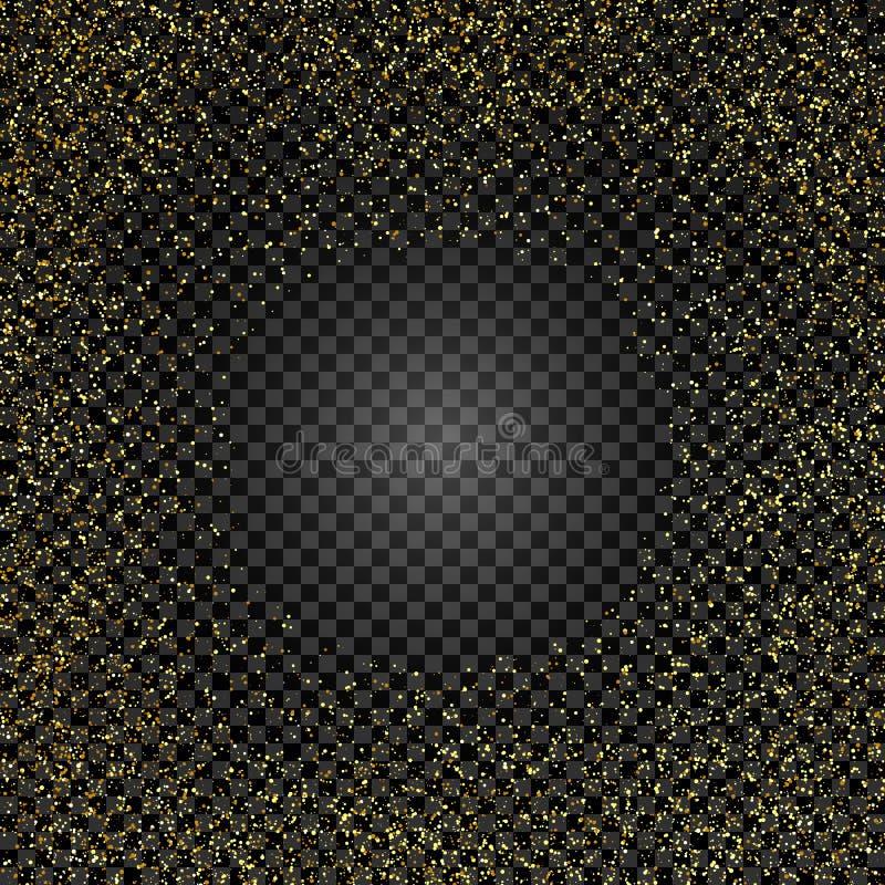 Textura de oro del brillo en fondo aislado Lluvia de oro Una explosión del confeti del oro Elemento del diseño Ilustración del ve stock de ilustración