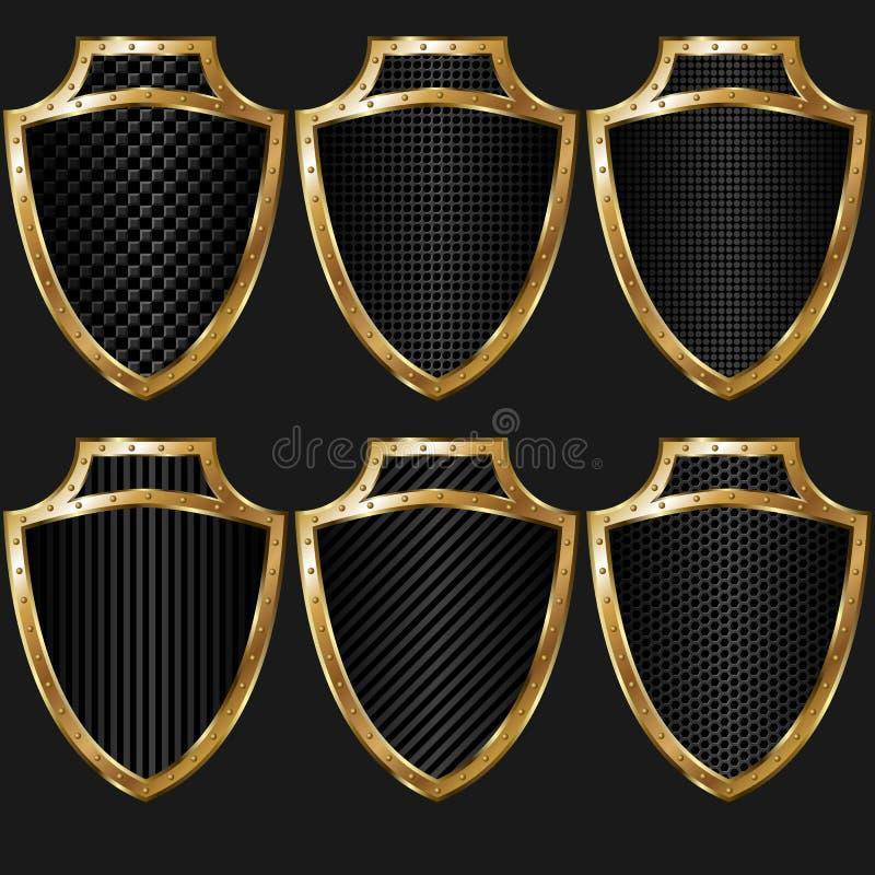 Textura de oro del escudo foto de archivo