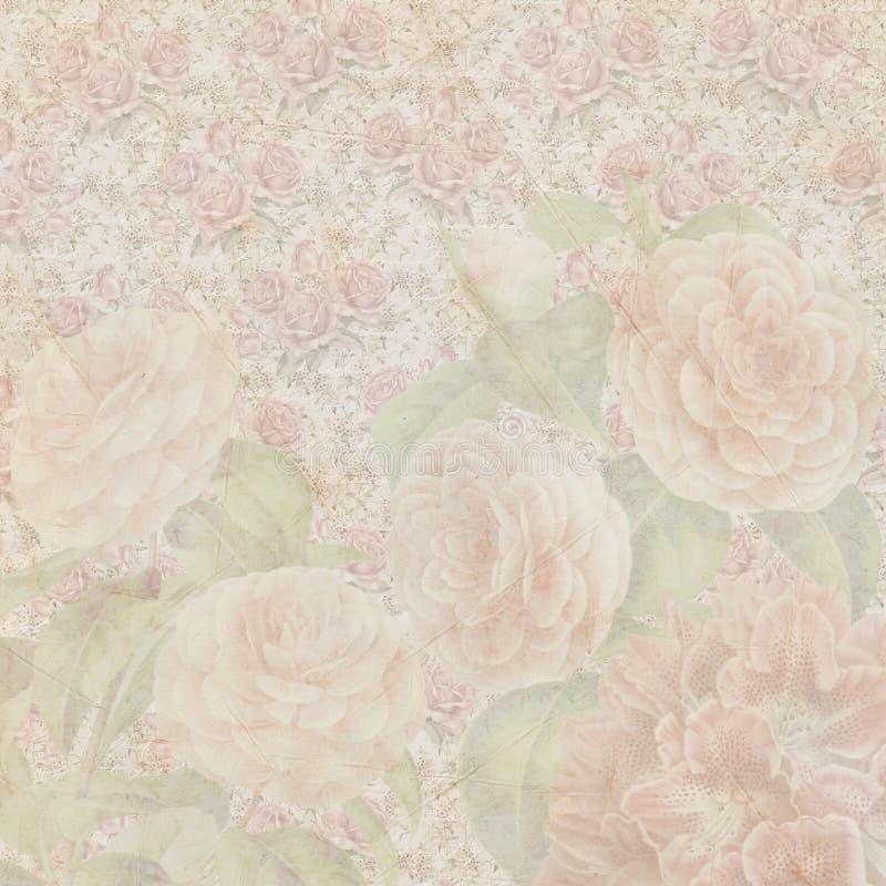 Textura de papel das flores gastos do vintage fotografia de stock
