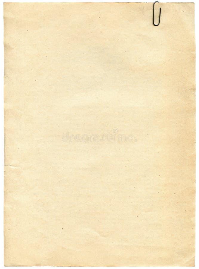 Textura de papel de la vendimia con el clip al fondo fotografía de archivo