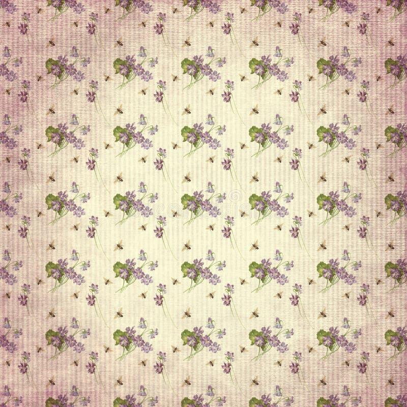 Textura de papel del fondo de Digitaces del vintage - violetas y abejas elegantes lamentables - papel de Digitaces stock de ilustración