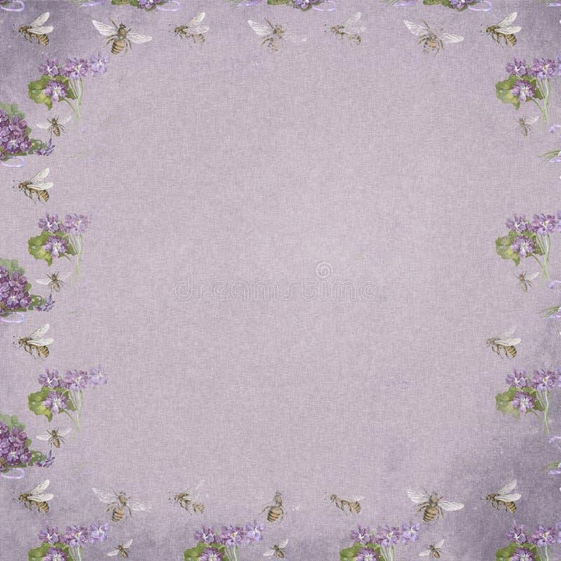 Textura de papel del fondo de Digitaces del vintage - violetas y abejas elegantes lamentables - papel de Digitaces ilustración del vector