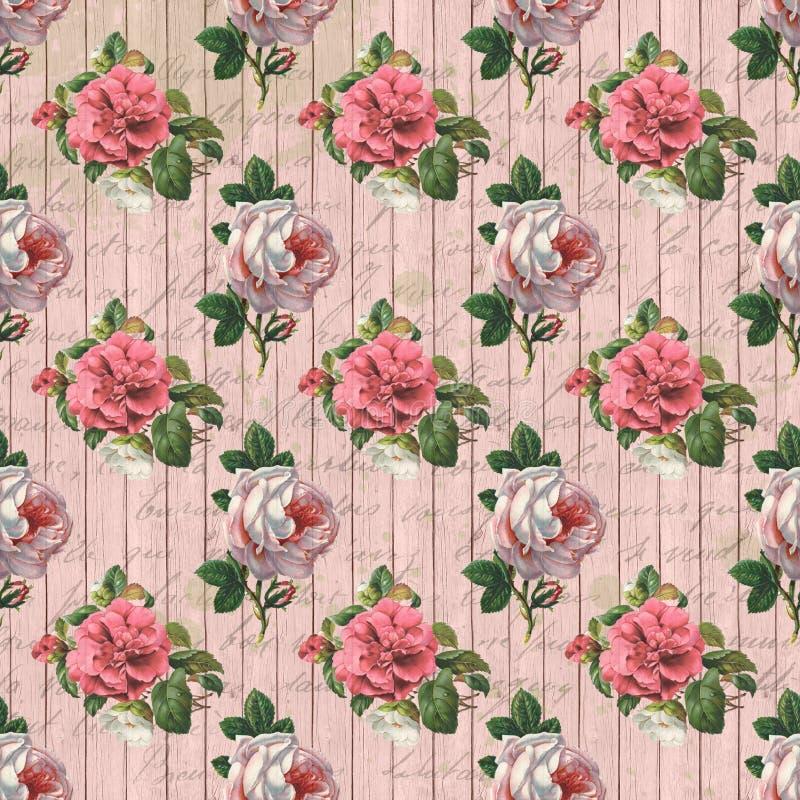 Textura de papel do fundo de Digitas do vintage - rosas chiques gastos e Woodgrain da casa de campo - papel de Digitas ilustração stock