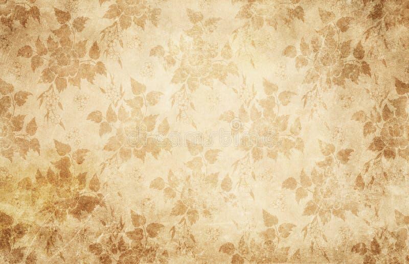 Textura de papel do vintage com flores fotografia de stock