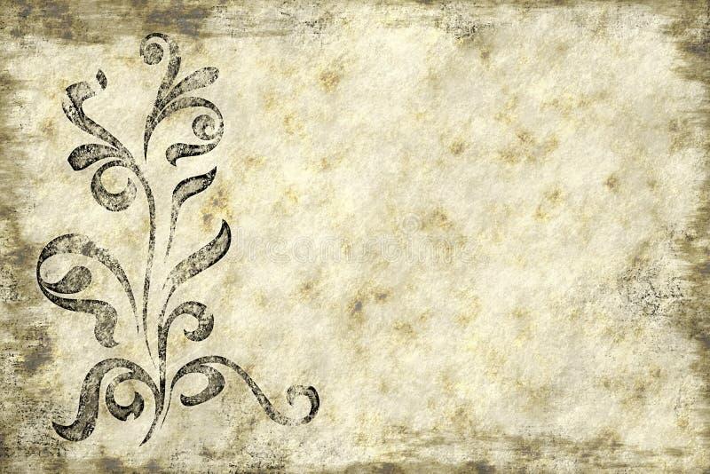 Textura de papel floral do pergaminho ilustração do vetor