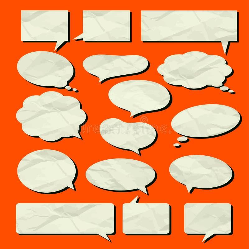 Textura de papel velha ajustada do vetor da bolha do discurso ilustração do vetor