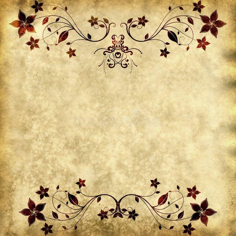 Textura de papel velha com frame floral ilustração royalty free