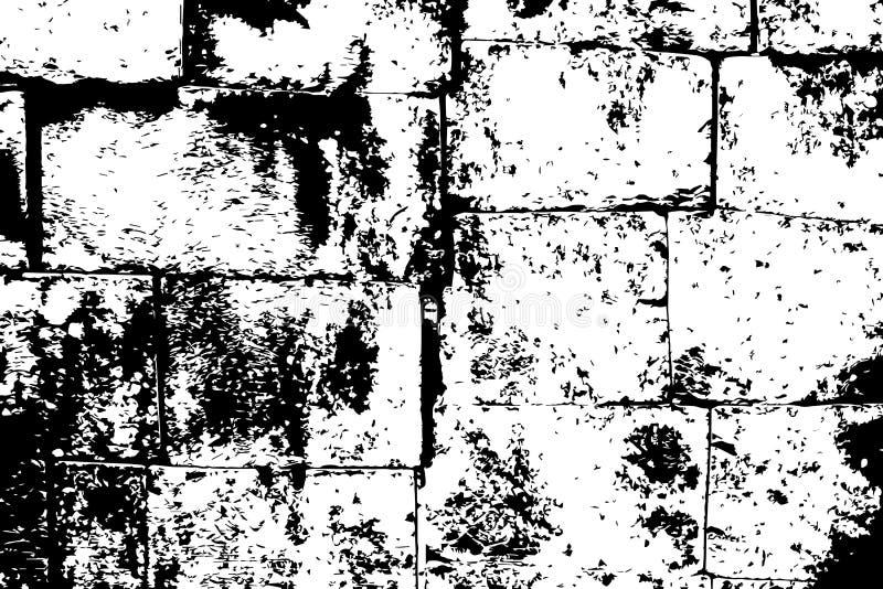 Textura de piedra resistida ruidosa de la pared de ladrillo Ladrillos de piedra blancos y negros Pared de piedra obsoleta libre illustration
