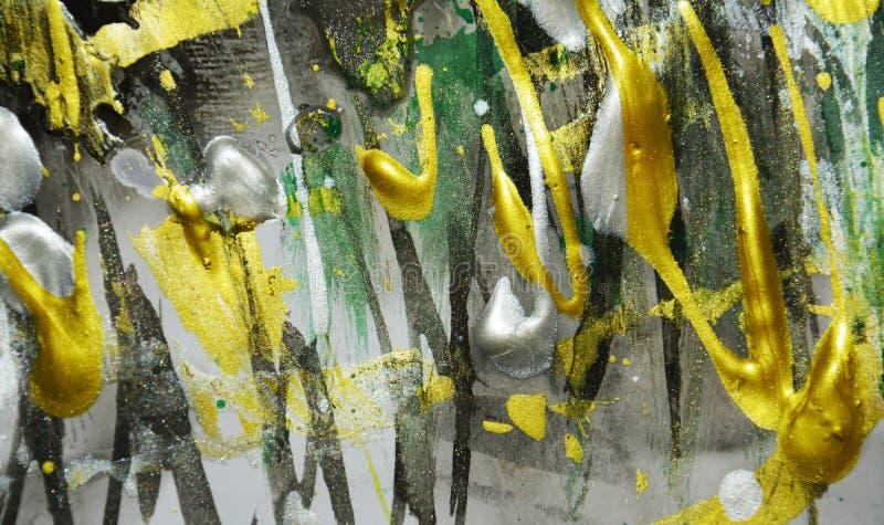 Textura de pintura, sombras vivas verdes de oro blancas oscuras de plata, textura abstracta foto de archivo libre de regalías