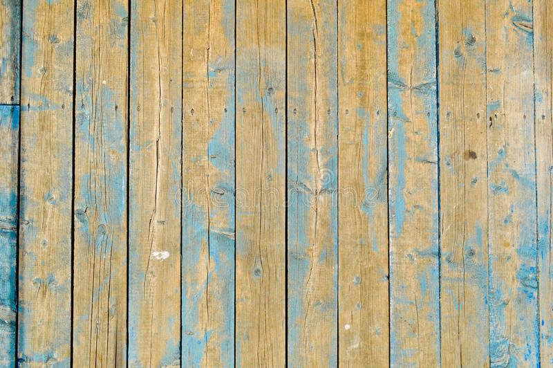 A textura de pranchas de madeira naturais com as emendas pintadas com pintura de descascamento azul de gasto velho riscado rachou fotos de stock