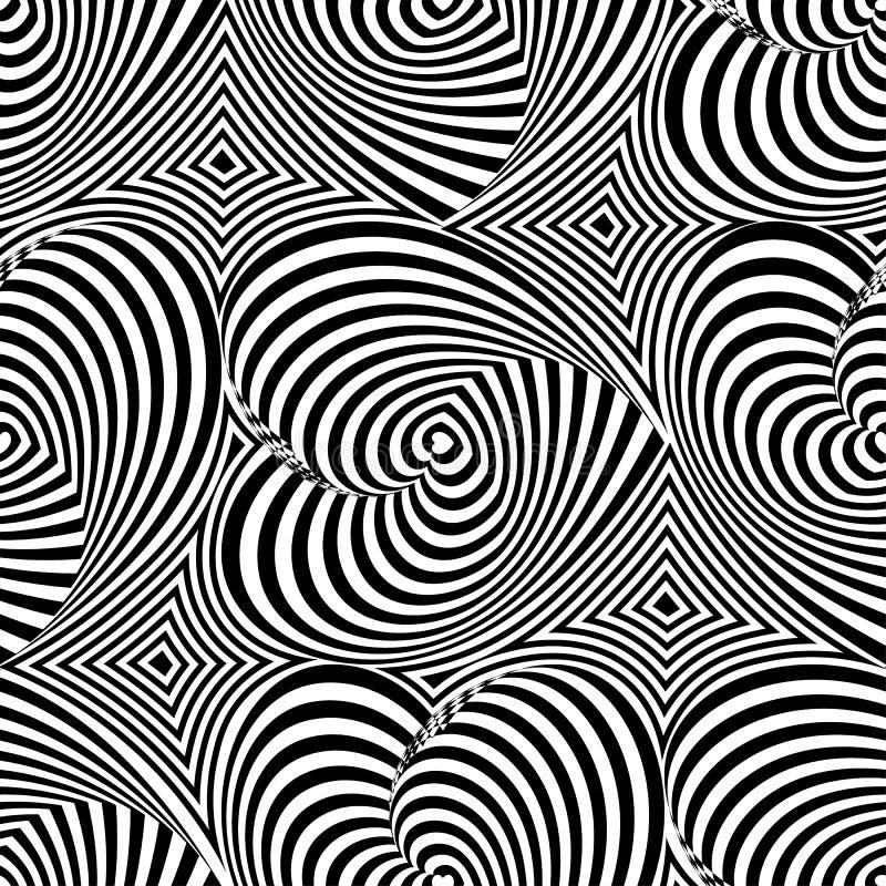 Textura de repetição listrada com corações O teste padrão sem emenda da arte op do vetor abstrato com ondulação alinha ilustração royalty free