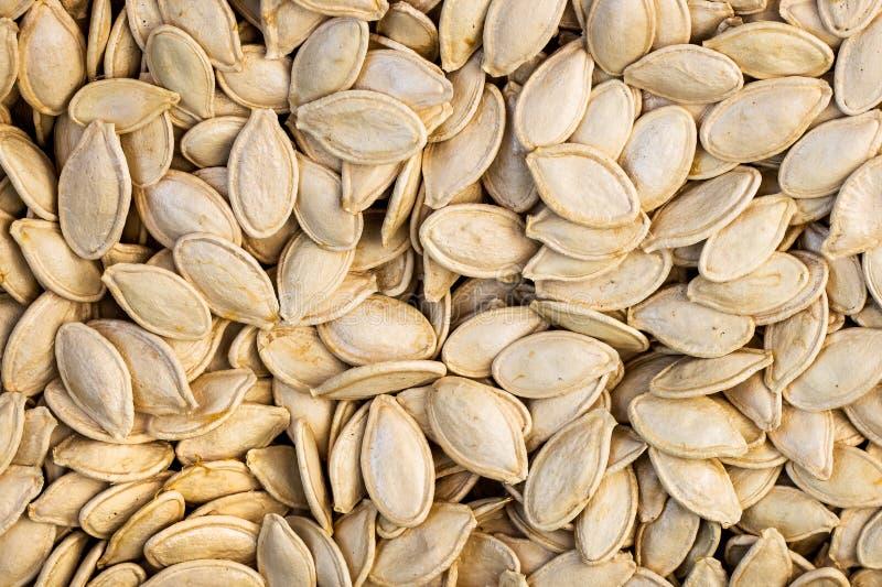 Textura de sementes de abóbora frescas Food_ saboroso e saudável fotografia de stock royalty free