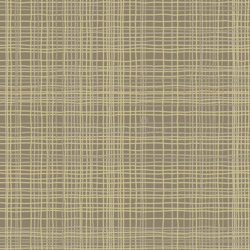 Textura de serapilheira Tela do verde de Brown Teste padrão sem emenda do fundo da lona Contexto de linho do saco de pano ilustração do vetor